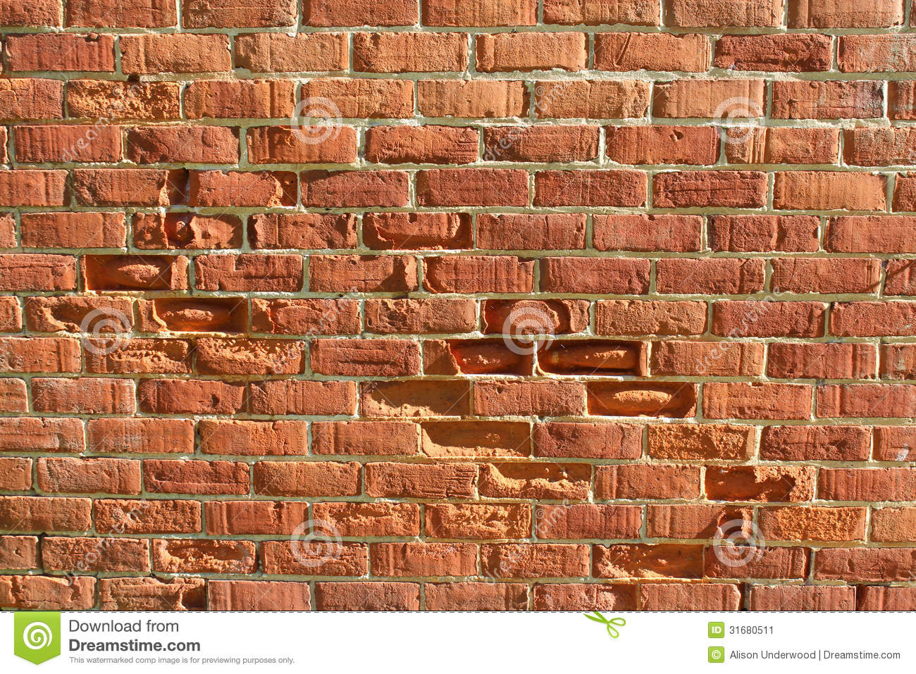 Old Weathered Clay Brick Wall Still Standing After Almost