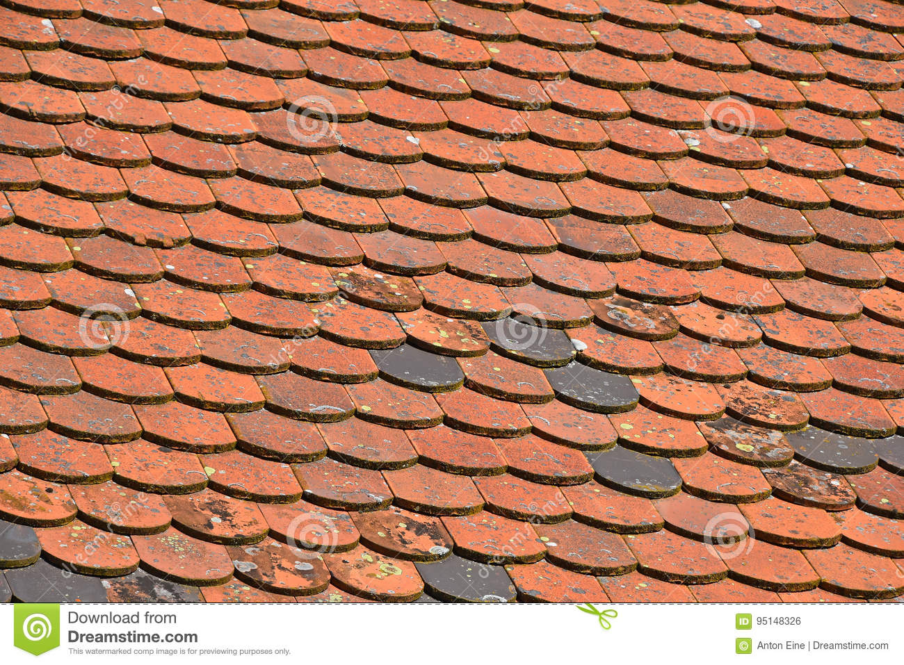Old Weathered Red Brown Ceramic Roof Tiles Stock Photo Image Of