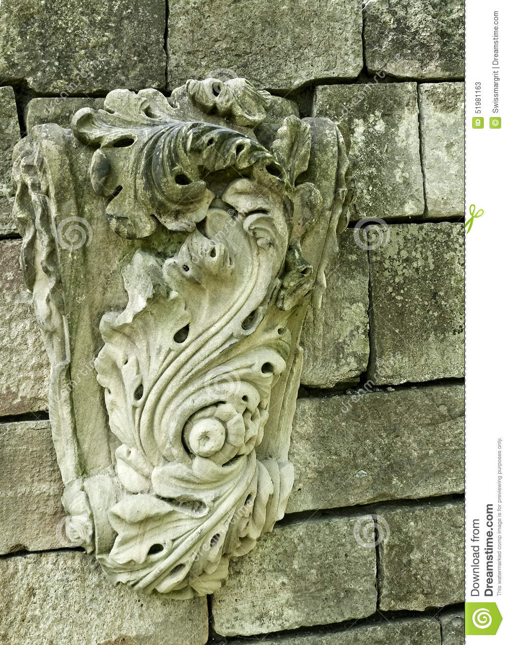 Decorative detail of stone carving stock image