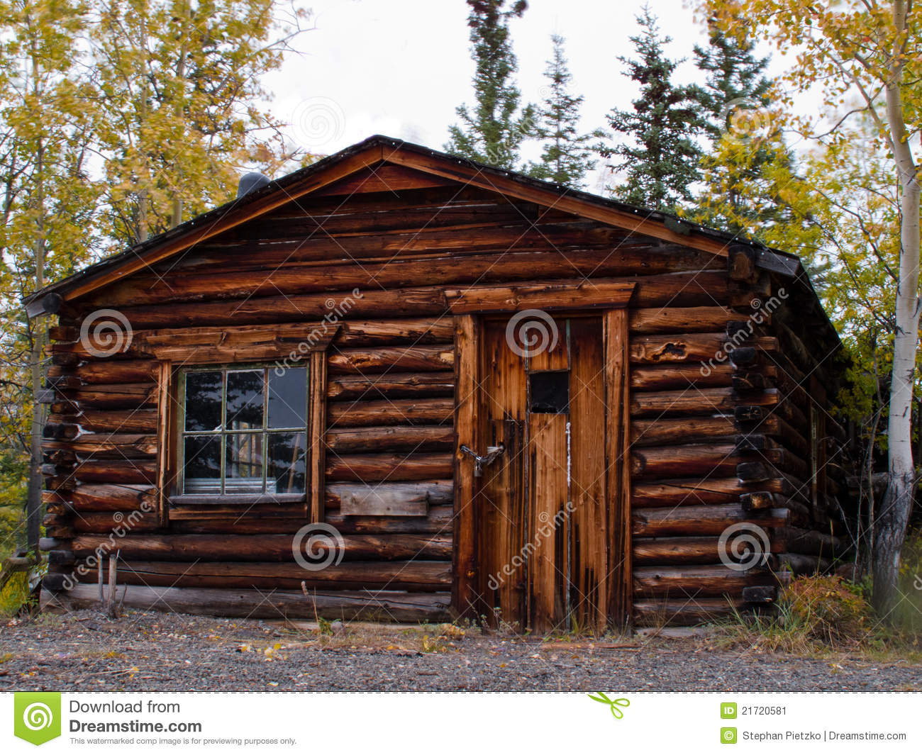 Old Weathered Traditional Log Cabin Yukon Canada Stock