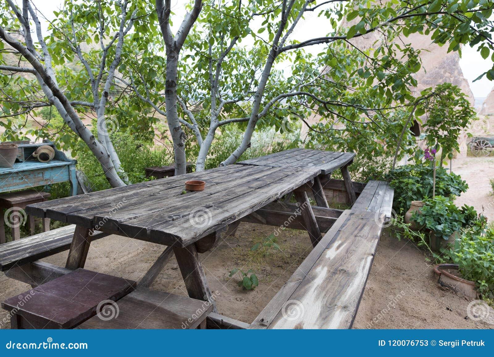 Peachy Old Weathered Wooden Table And Benches In The Garden Under Inzonedesignstudio Interior Chair Design Inzonedesignstudiocom