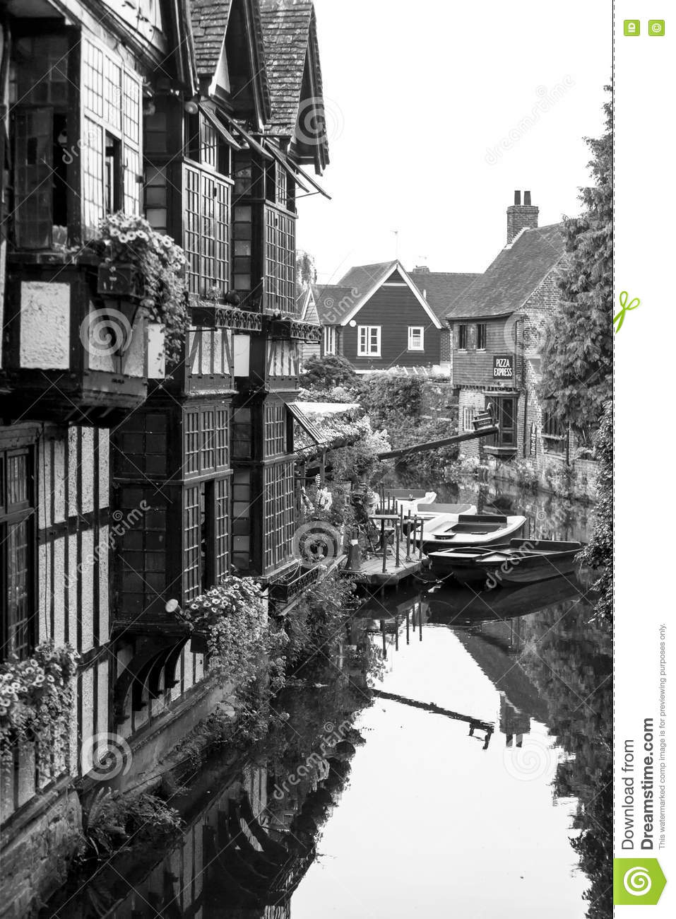 Editorial stock photo old weavers house on the river stour canterbury kent uk
