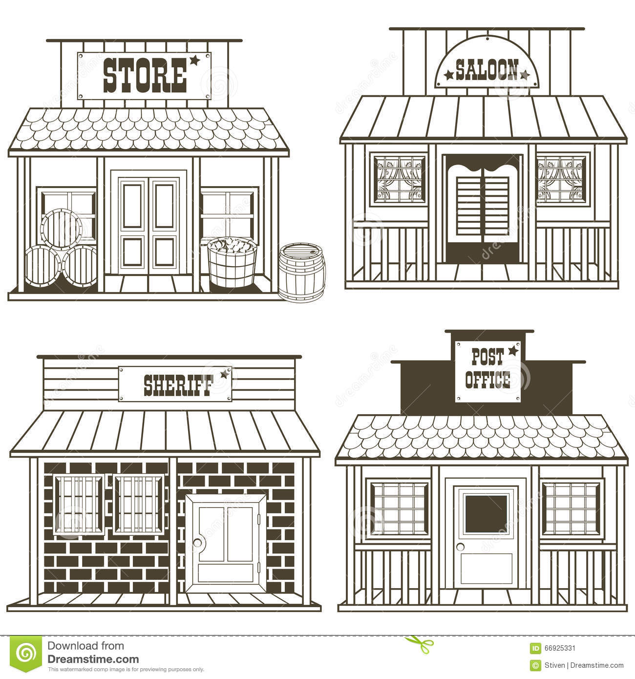 old west buildings coloring pages - photo#7