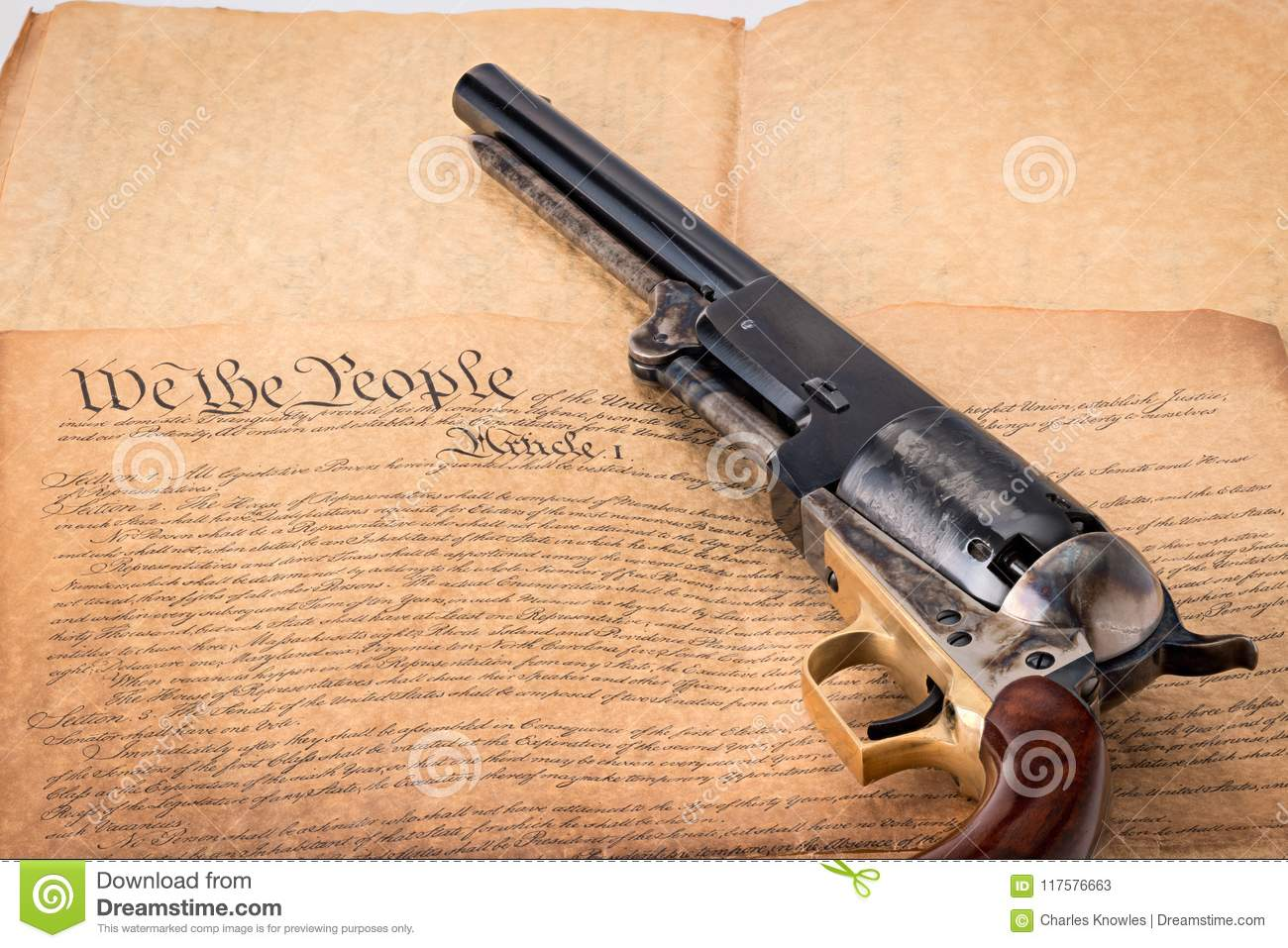 Old Western Revolver On The Constitution Of The United State Stock