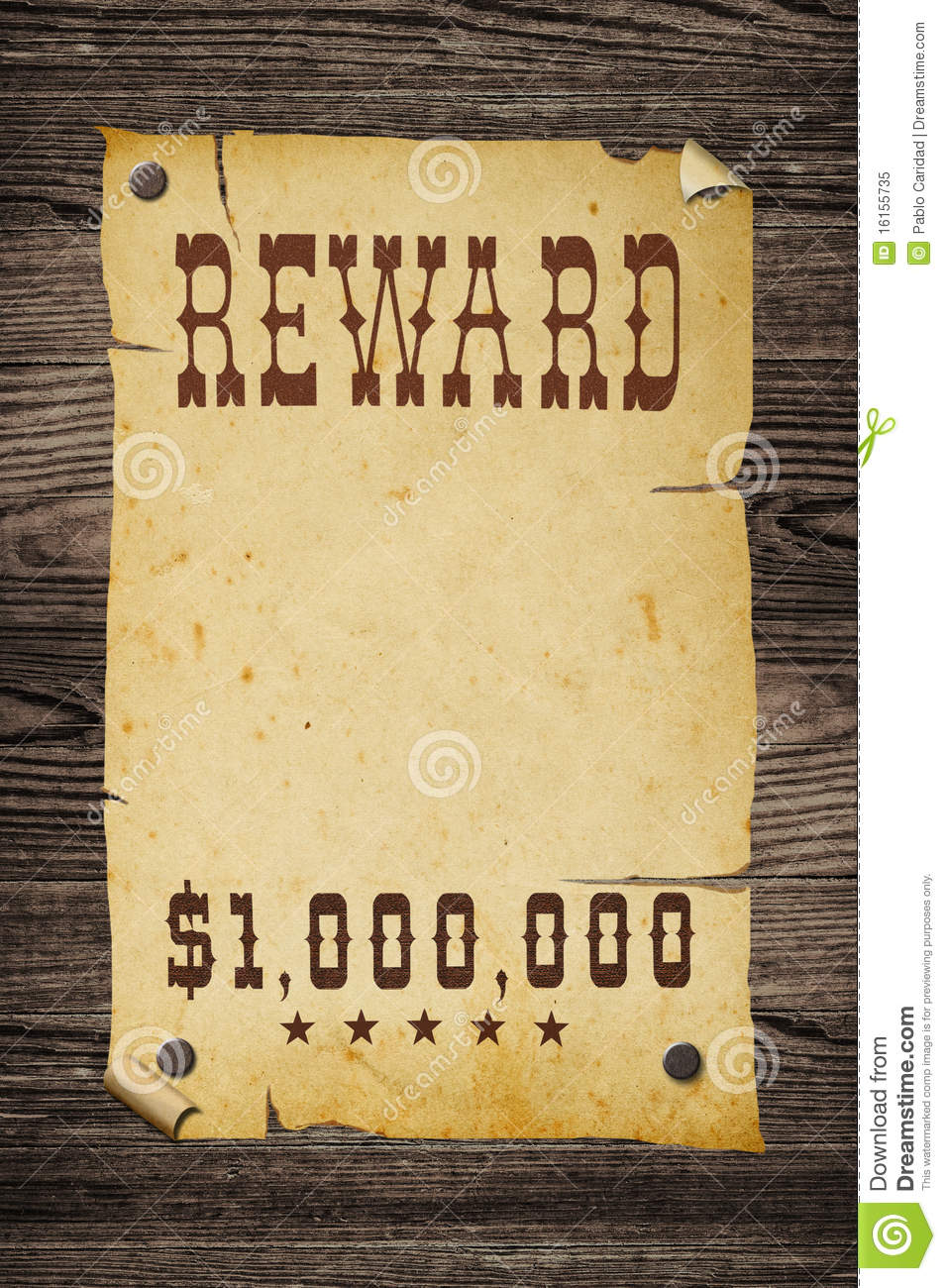 old western reward sign  stock image  image of ancient