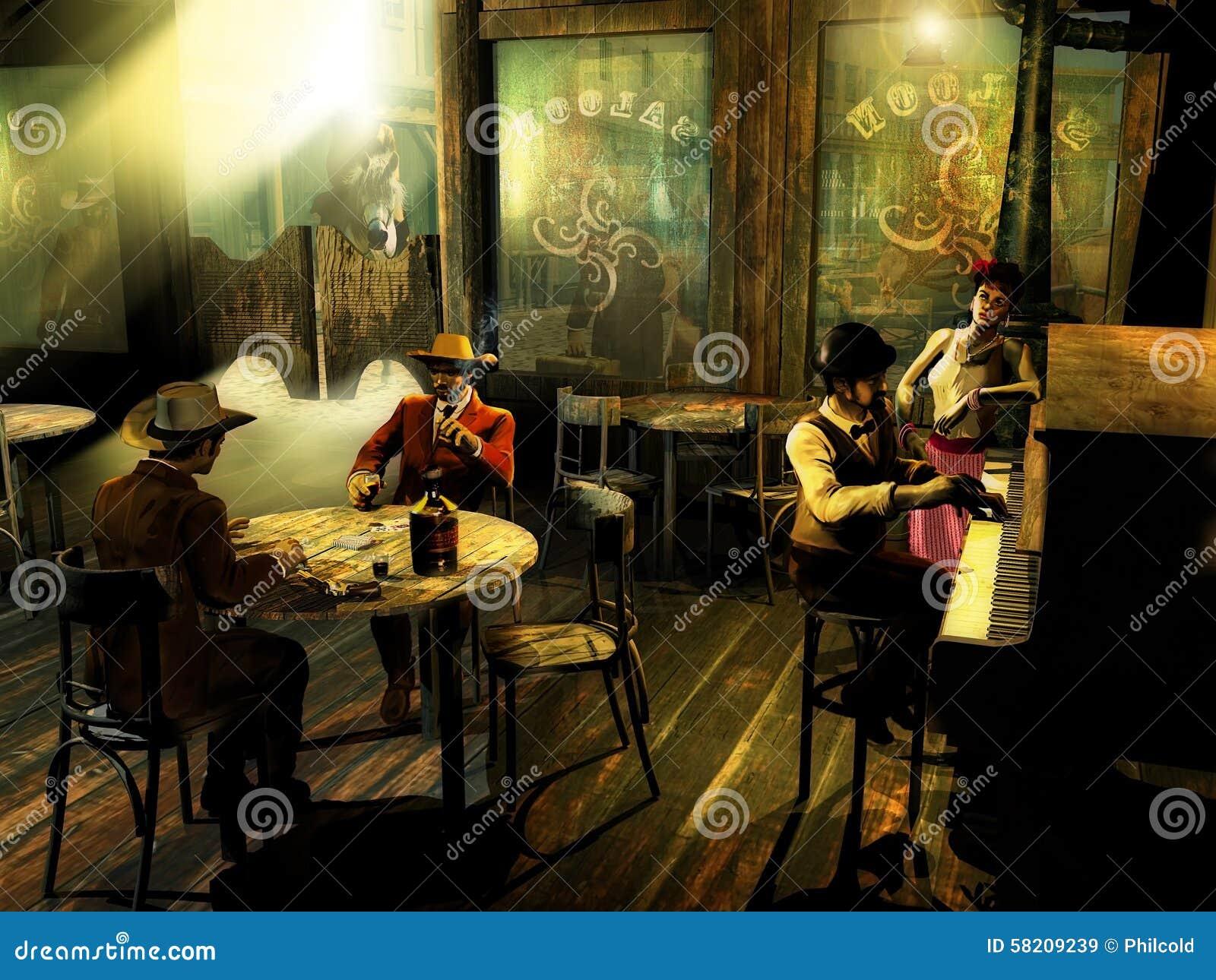 Old Western Saloon Stock Illustration Image 58209239