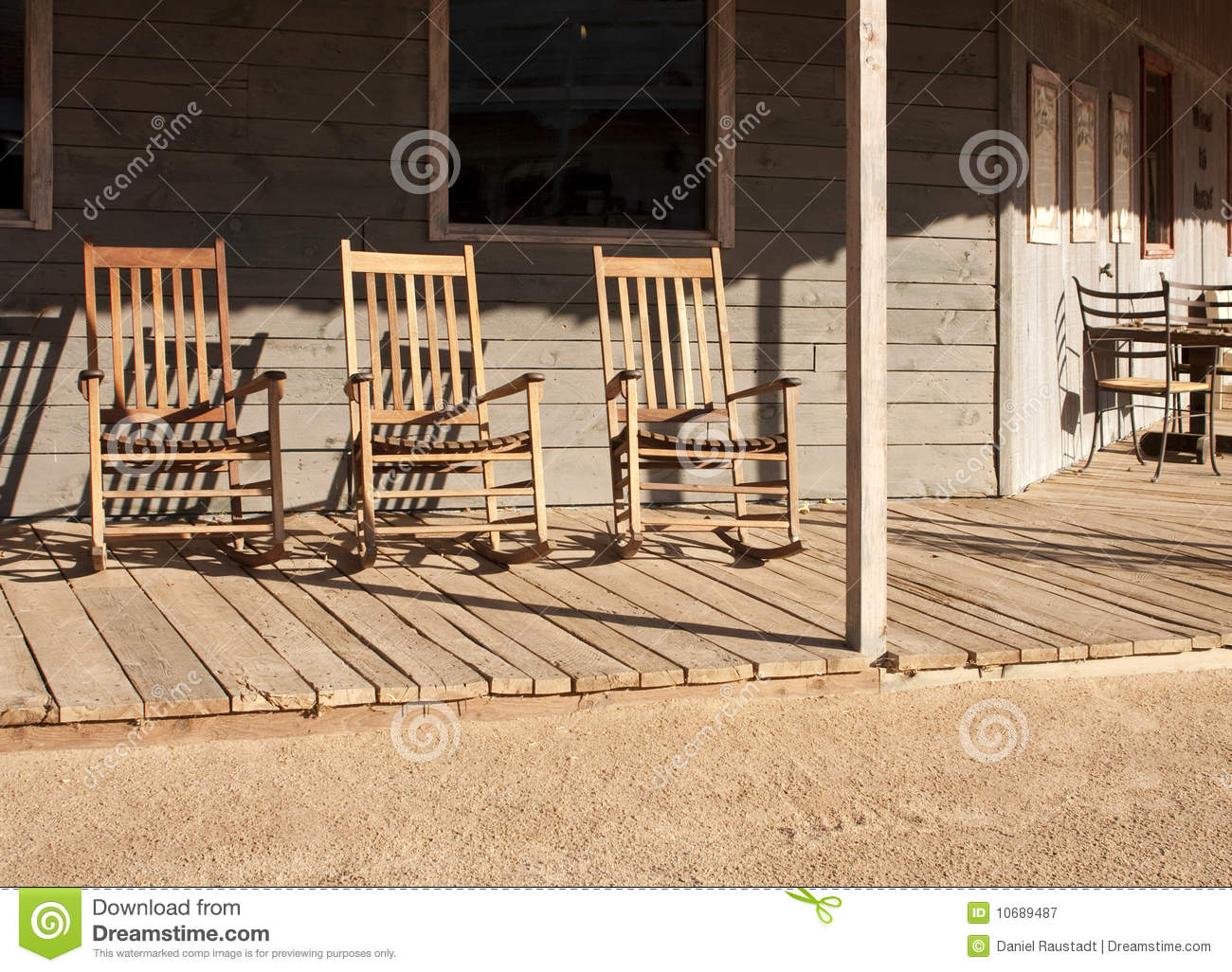 Old Western Town Rocking Chairs Royalty Free Stock