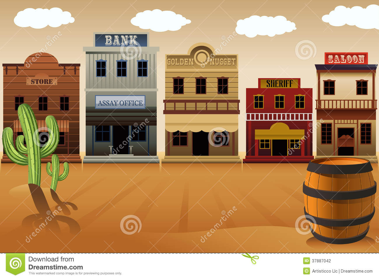 Old Western Town Stock Photography - Image: 37887042