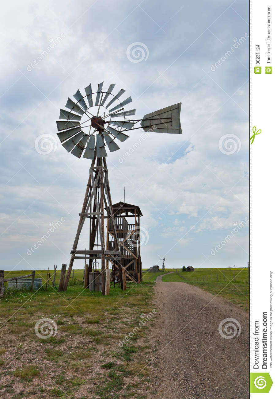 Old Western Windmill Stock Photo Image Of Country Open