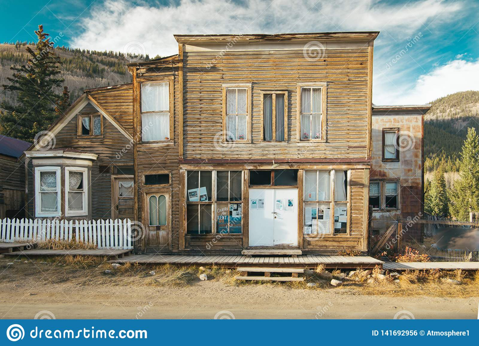 Old Western Wooden post office or saloon in St. Elmo Gold Mine Ghost Town in Colorado, USA