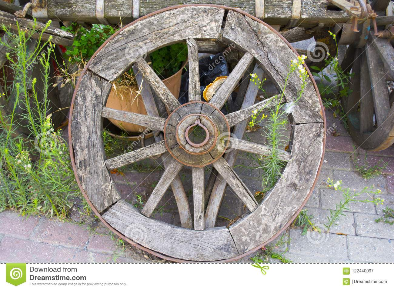 Old wheel is leaning against the old horse car