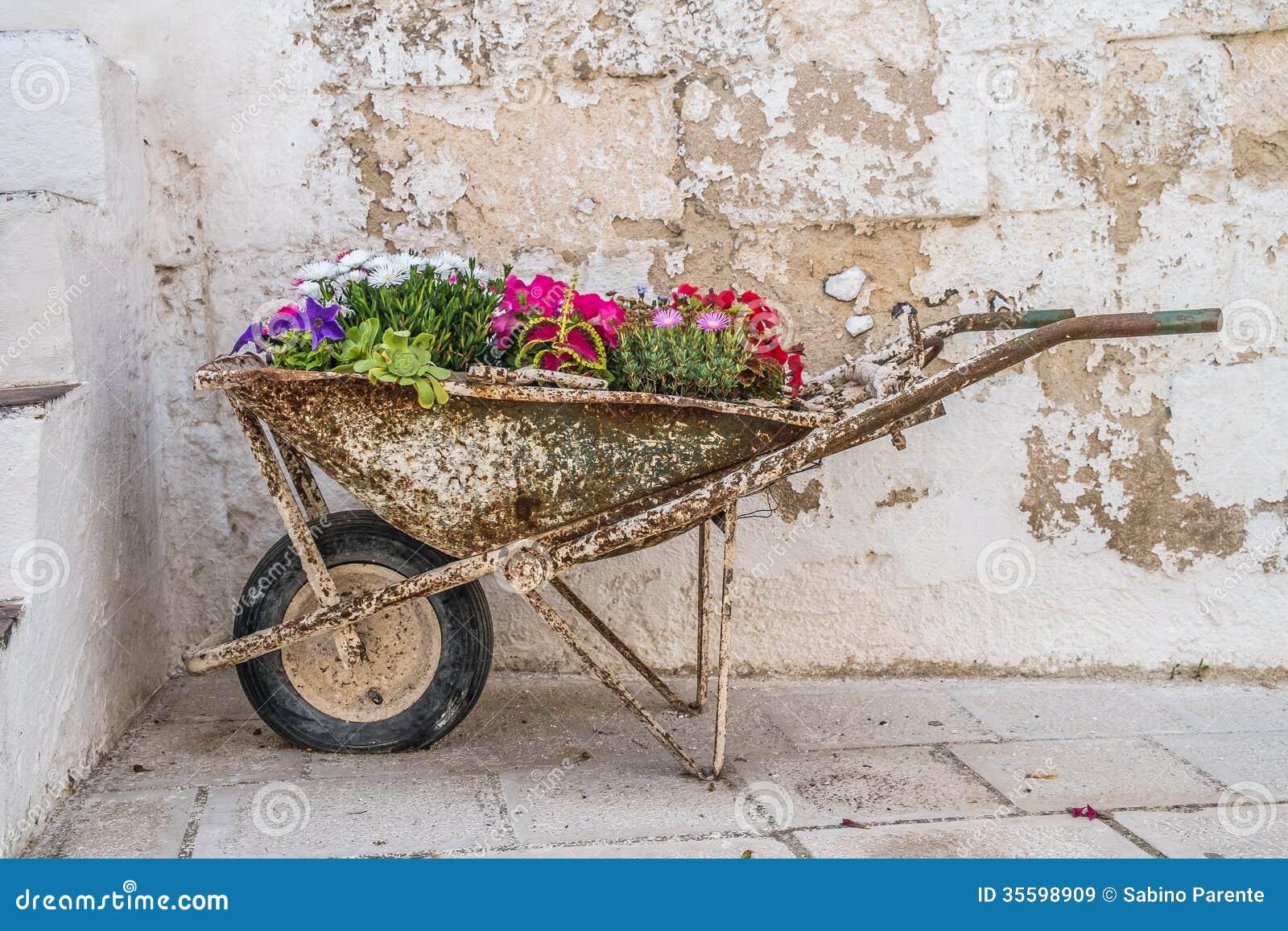 Old Wheelbarrow With Flowers Stock Image Image 35598909