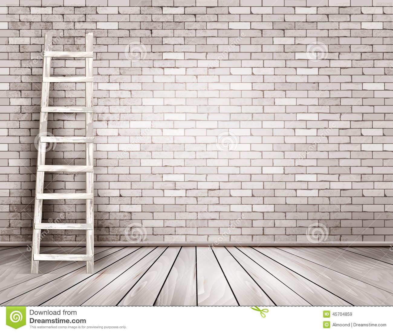 Old White Brick Wall Background With Wooden Ladder Stock