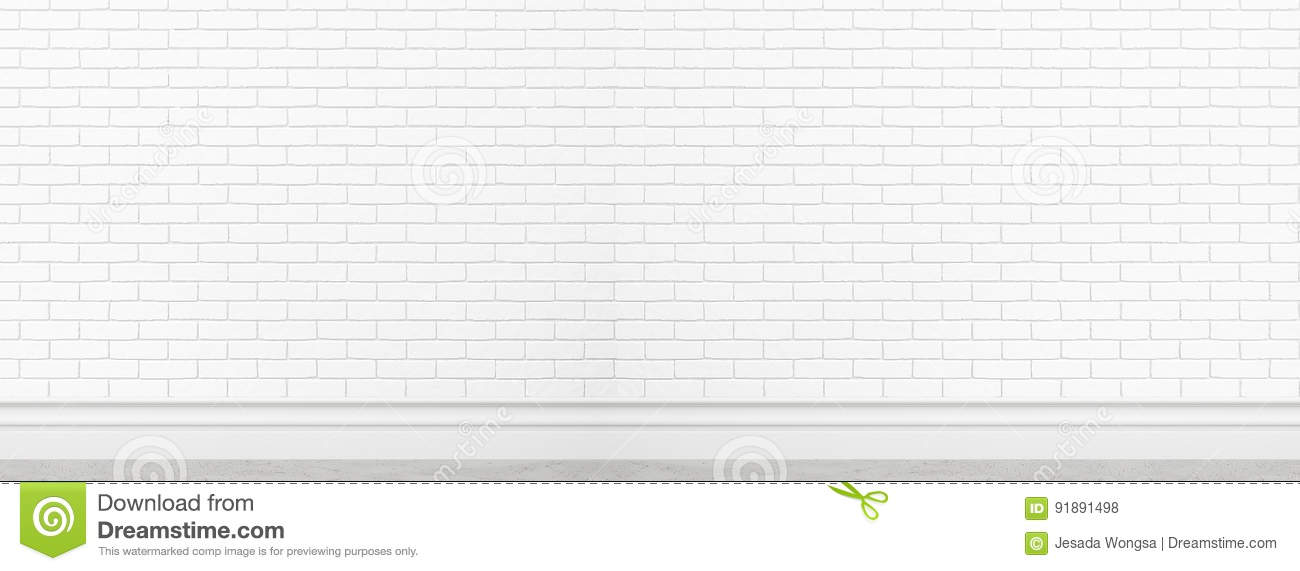 Old white brick wall texture for background usage as backdrop wide screen banner design mockup