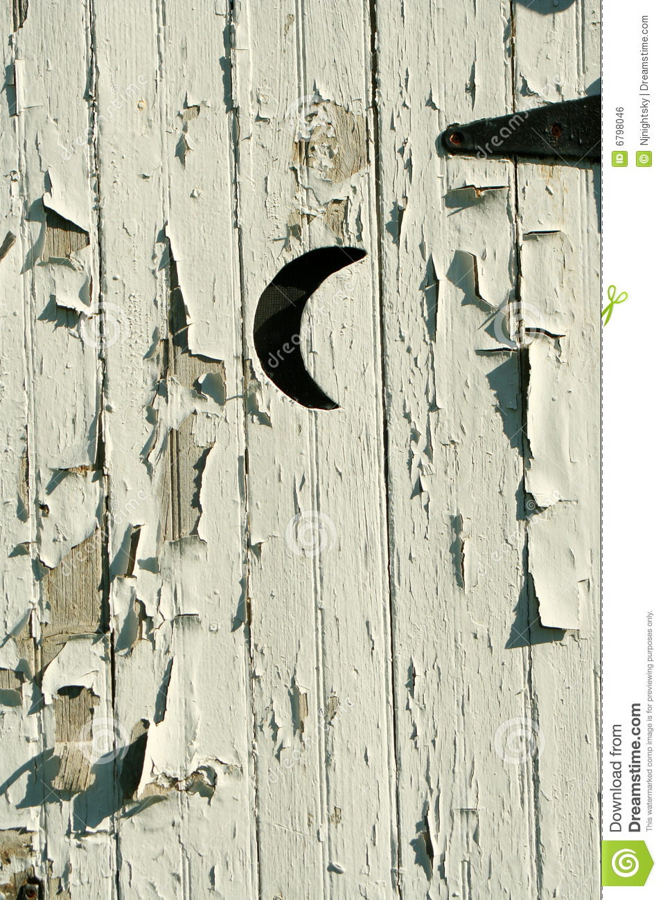 Old White Outhouse Moon Door Stock Photo Image 6798046
