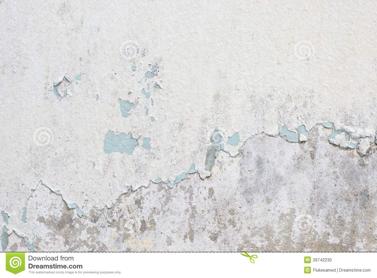 Old White Paint Texture Peeling Off Concrete Wall Stock