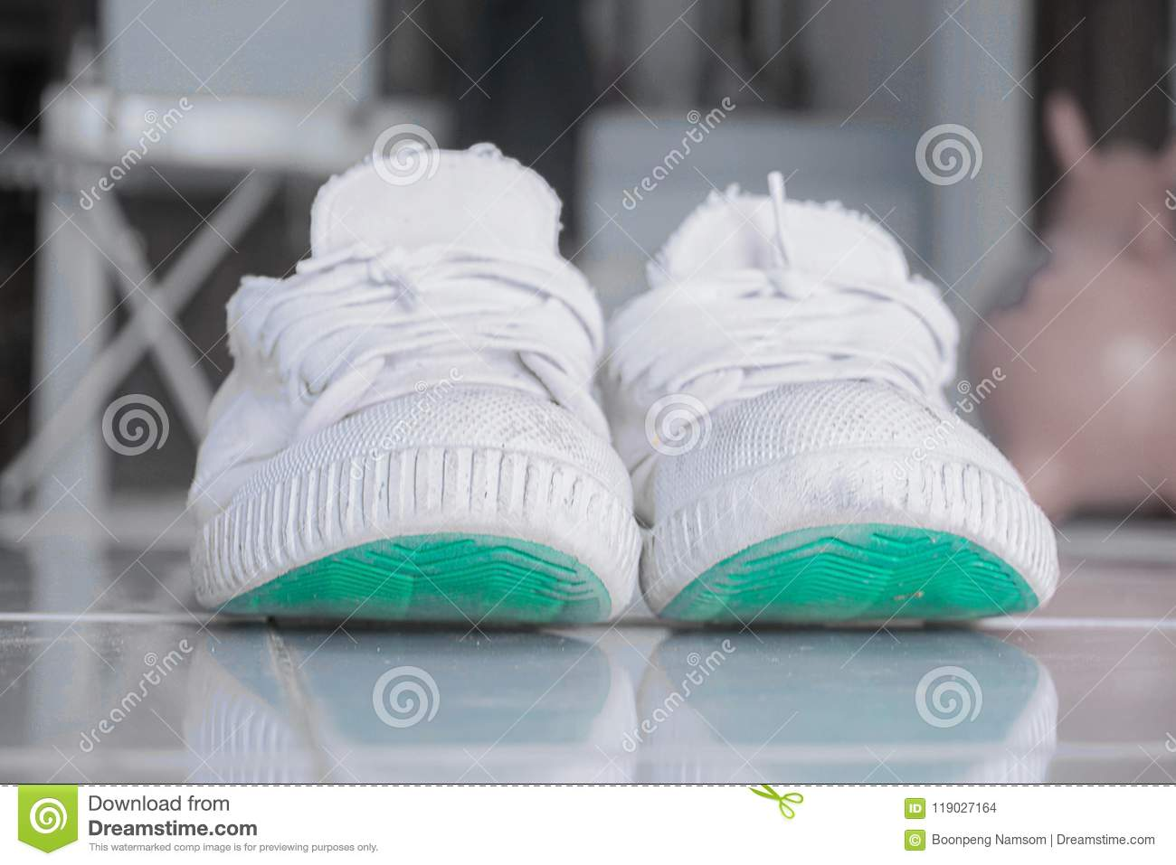 15977ce78968 Old White Shoes Used To Play Sports. Stock Photo - Image of dirty ...