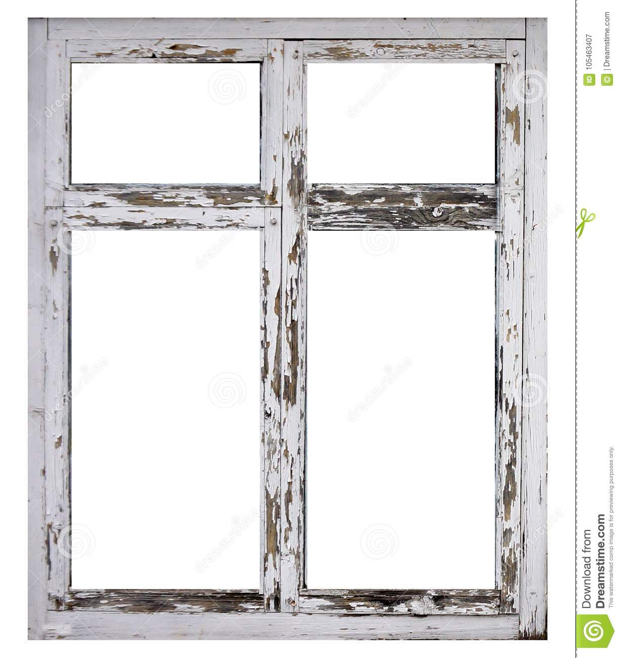 Old White Wood Window Frame Isolated On White Background Stock Image ...