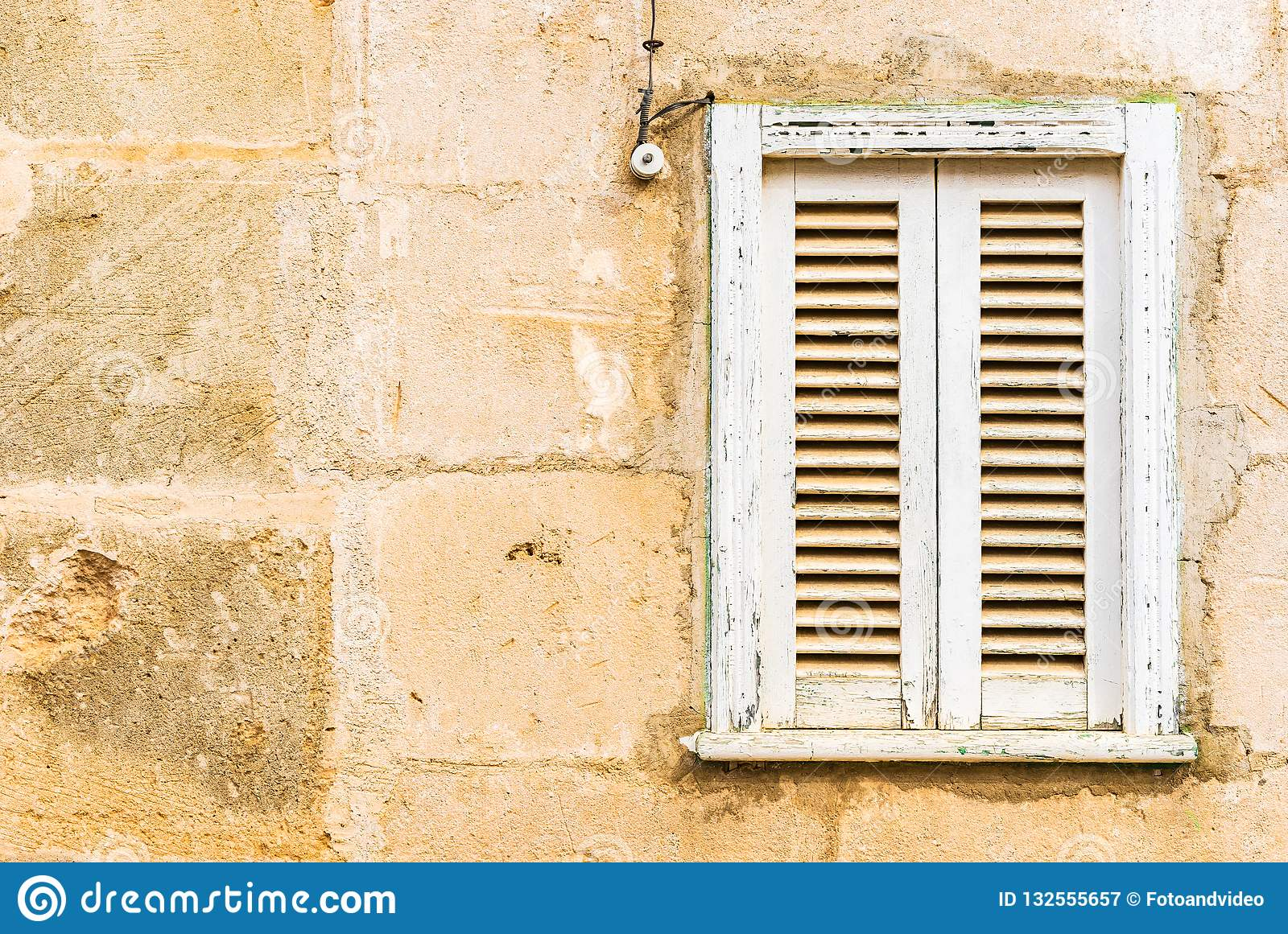 Old White Wood Window Shutter And Vintage Wall Of