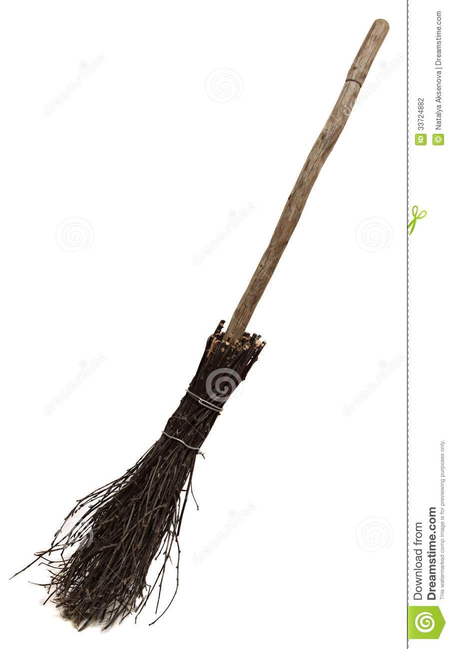 Old Wicked Broom On White Stock Photo Image 33724882