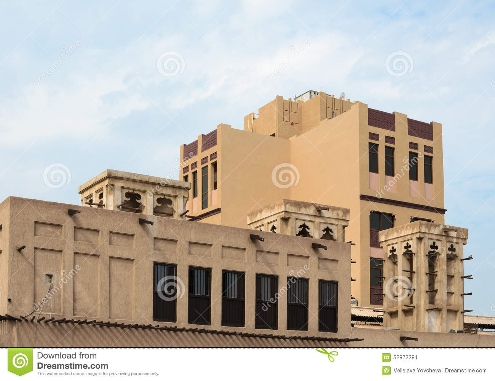 Old wind towers arabian architecture dubai uae stock for Architecture arabe