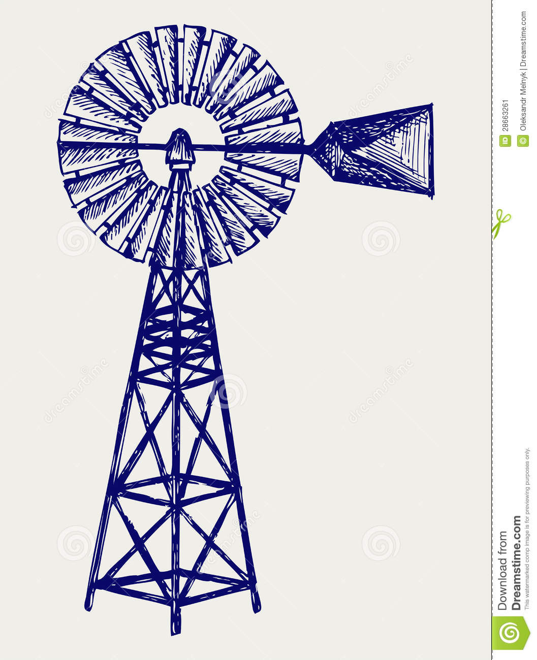 Old windmill. Doodle style stock vector. Image of design ...
