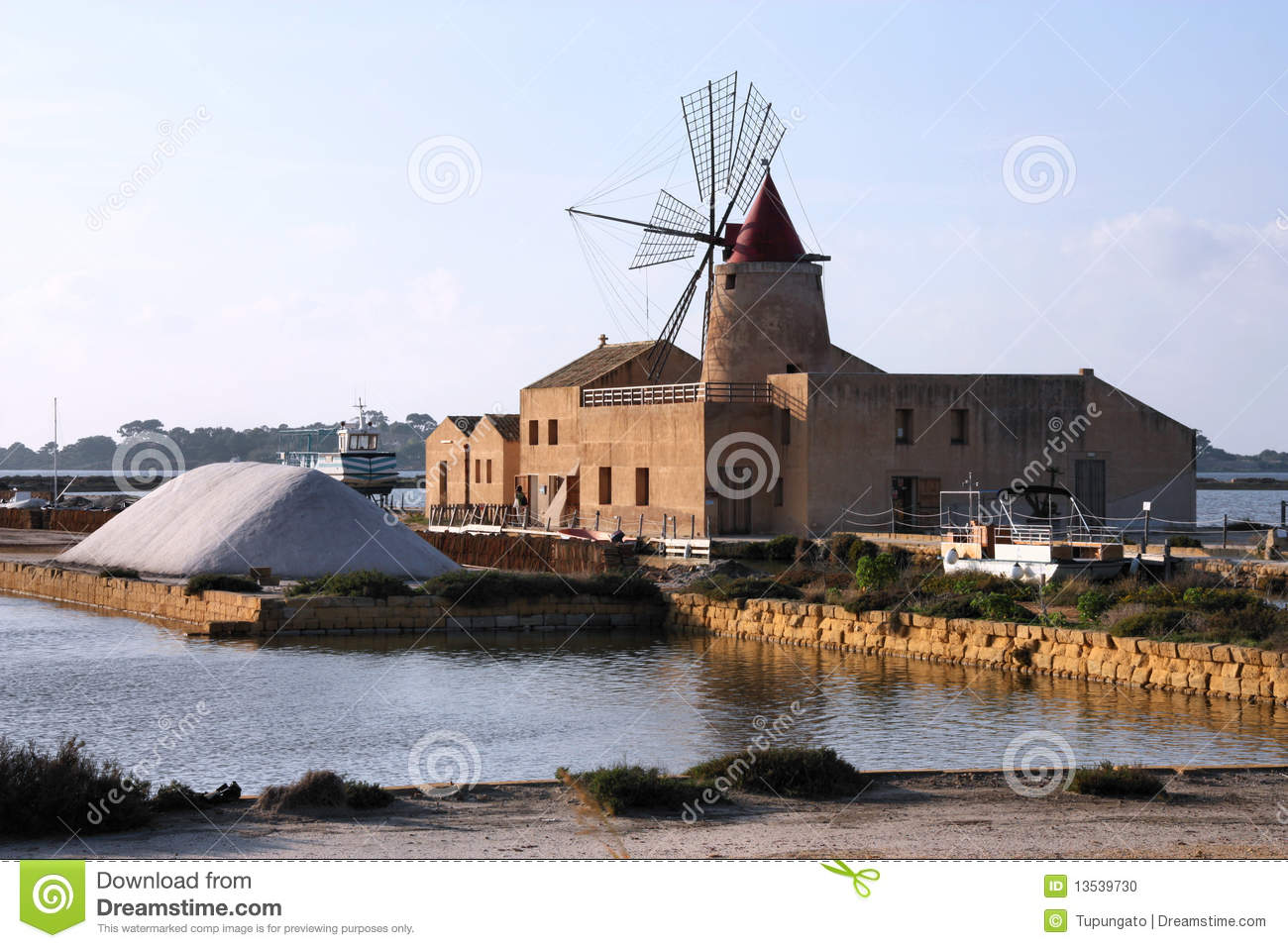 Old windmill in saltworks