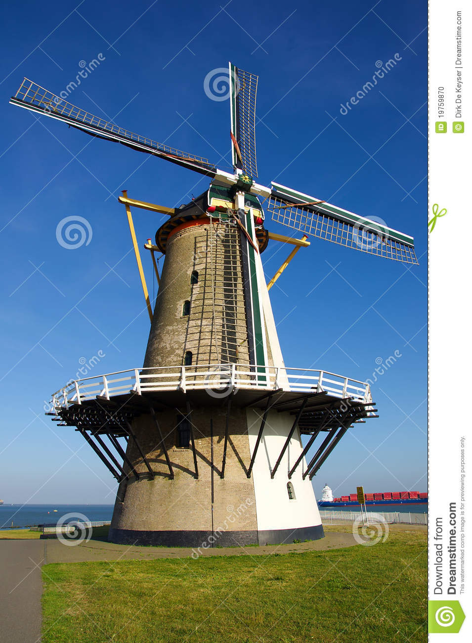 Old windmill in the Sun in Holland