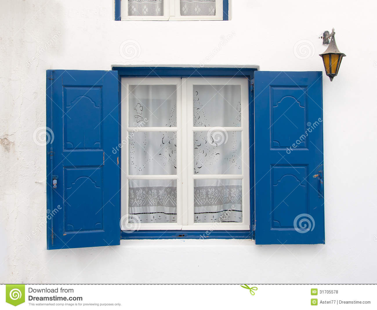 Old Window With The Blue Shutters Background Stock Photo