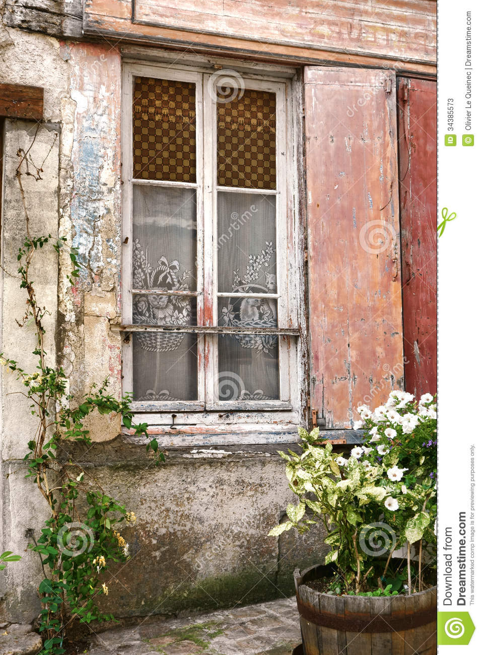 Old Window With Cat Curtains On Ancient Building Stock Image Image 34385573