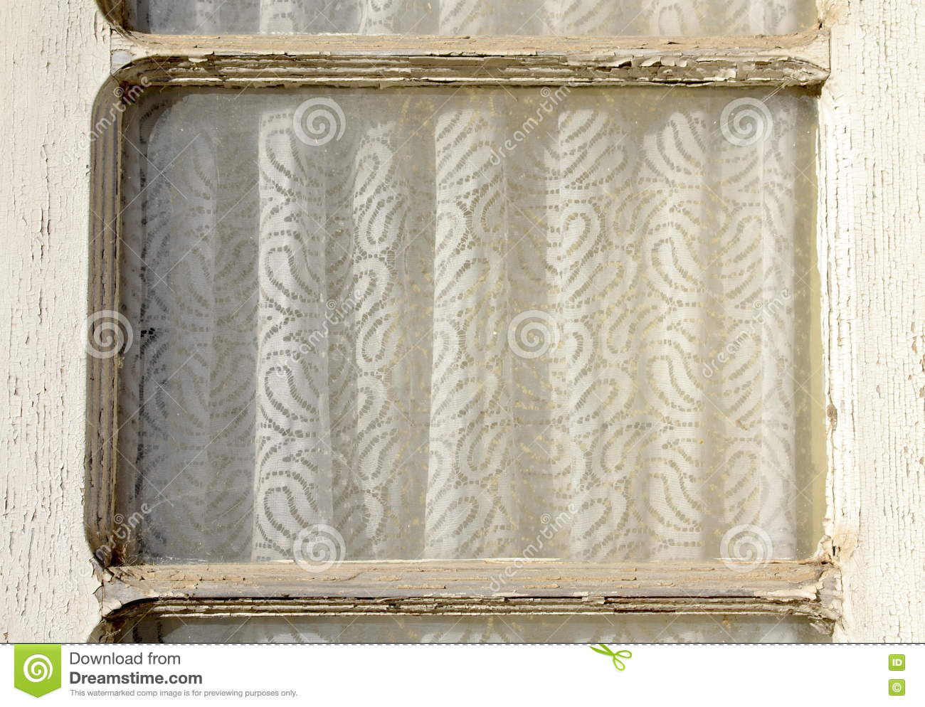 Old Window Frame With Curtain Stock Photo - Image of details ...