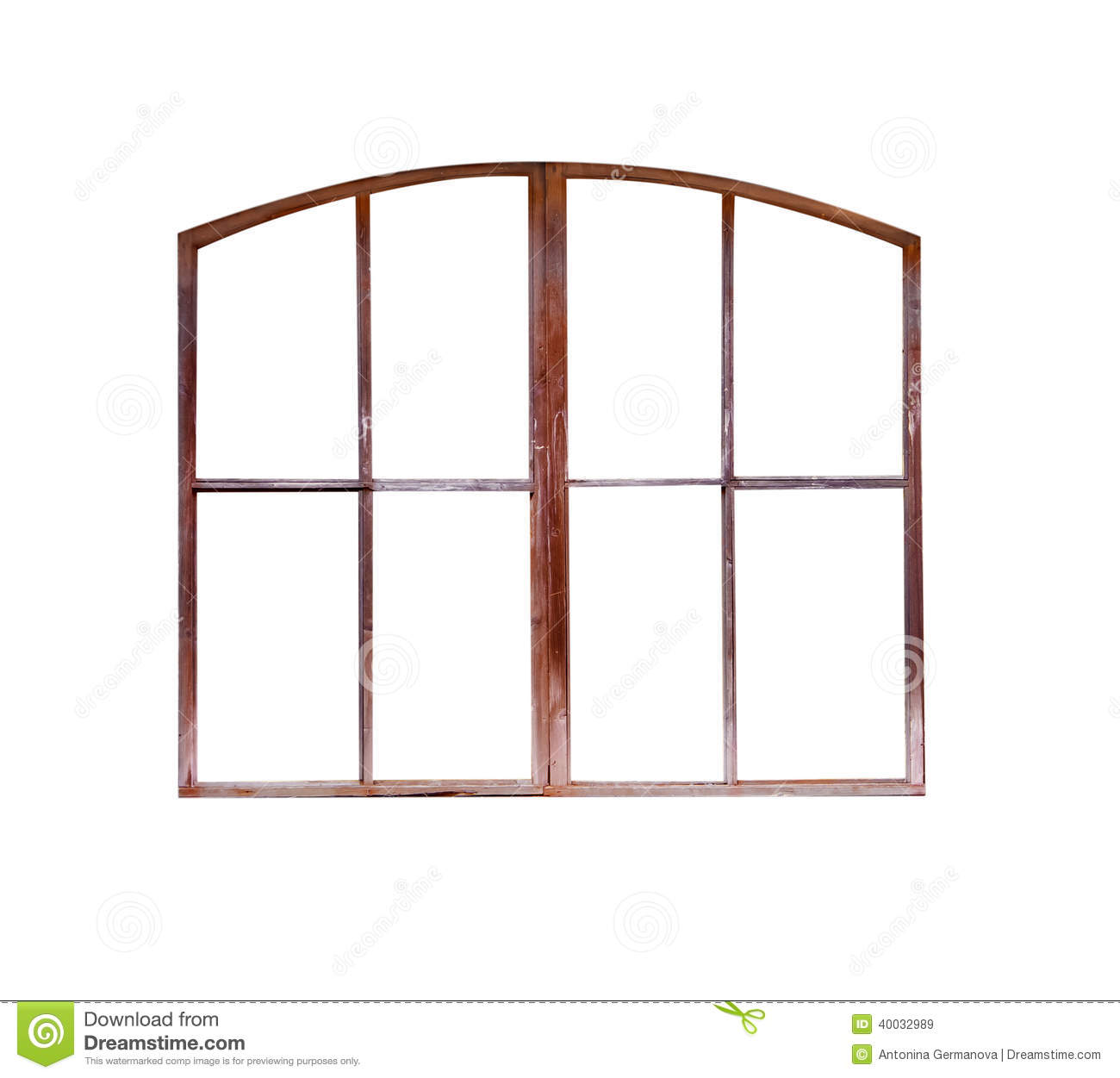 the old window frame isolated