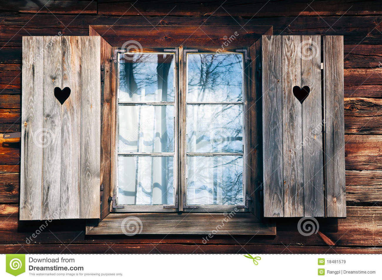 Old window shutters in wooden wall stock image image for Wooden windows