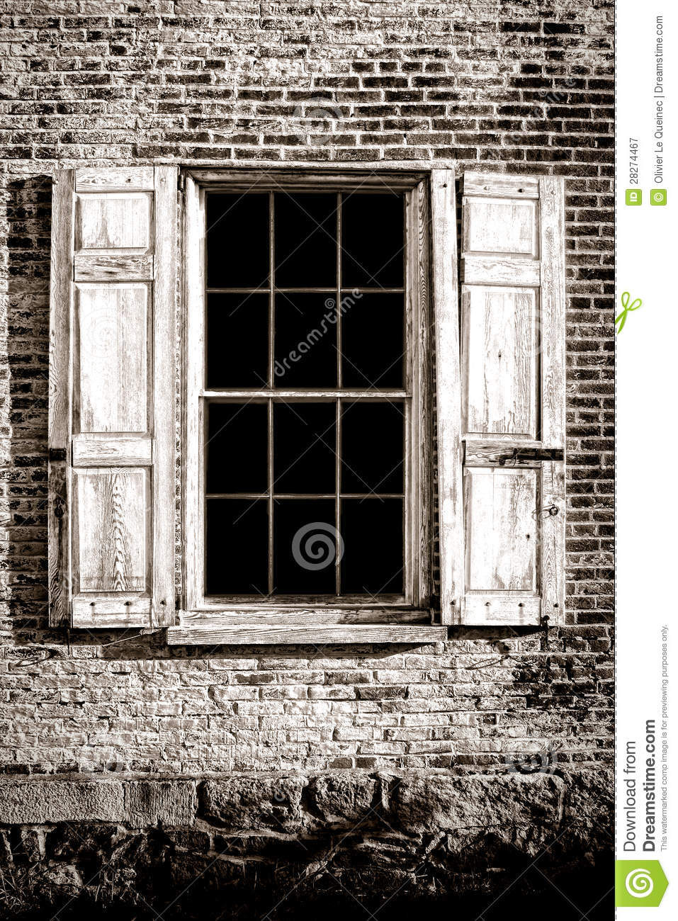 old window and wood shutters on ancient brick wall royalty free stock photography image 28274467. Black Bedroom Furniture Sets. Home Design Ideas