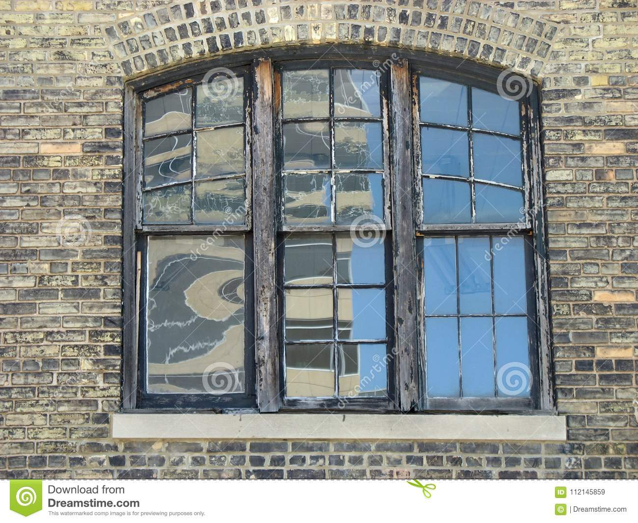 Old Window With Wooden Frames Stock Image Image Of White Brick