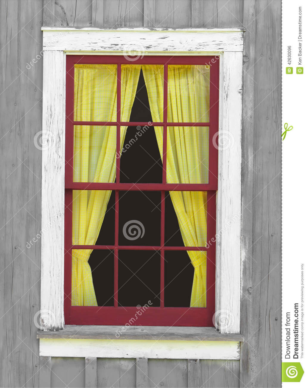 Old Window With A Yellow Curtain. Stock Photo - Image of windows ... for Window Coverings Outside  166kxo