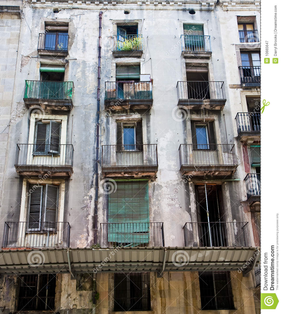 Old Apartment Building: Old Windows And Balconies Stock Image. Image Of Broken