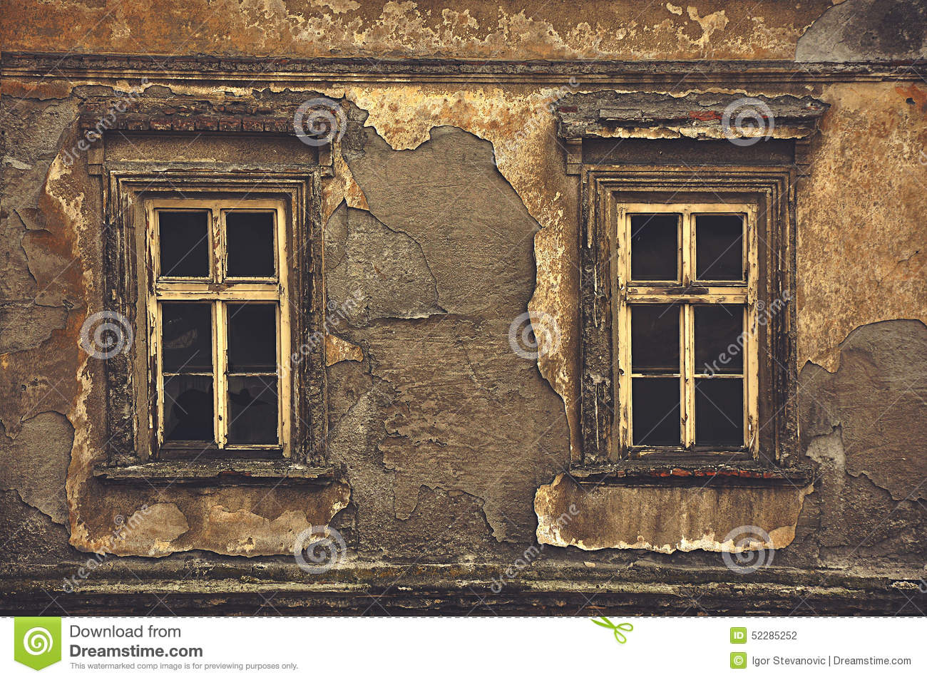 Windows house exterior - Old Windows On Ruined House Exterior Wall Stock Photo Image