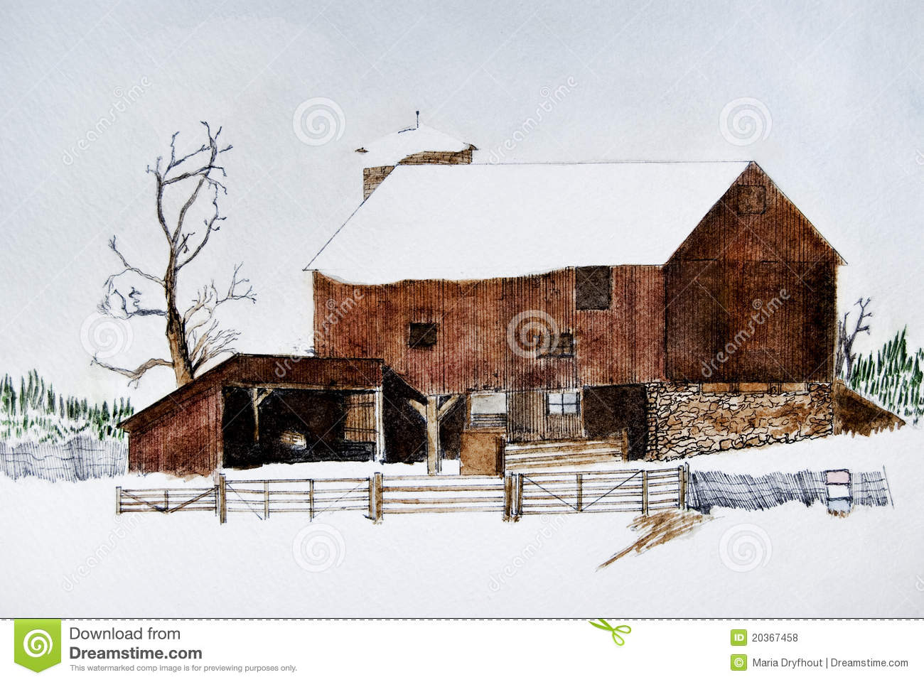 Old Winter Barn Stock Illustration Image Of Holiday