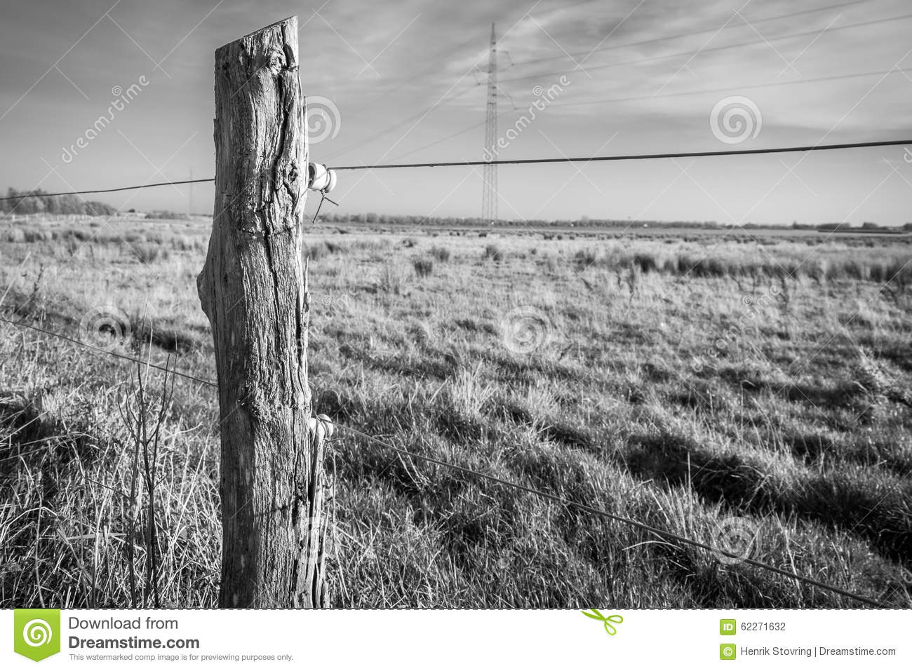 Old wire fence post stock photo. Image of over, danish - 62271632