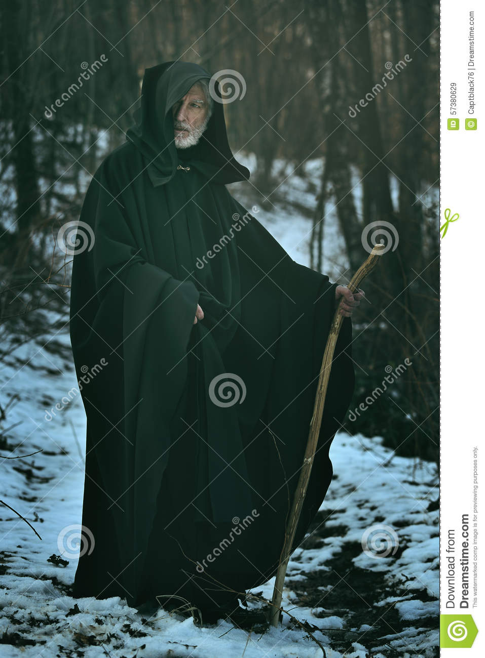 Old Wise Man With Staff In The Wood Stock Image Image Of Power Wand 57380629