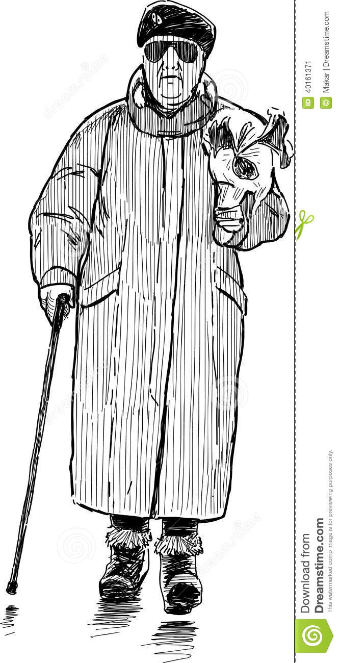 Vector drawing of the walking Elderly Woman Walking Drawing