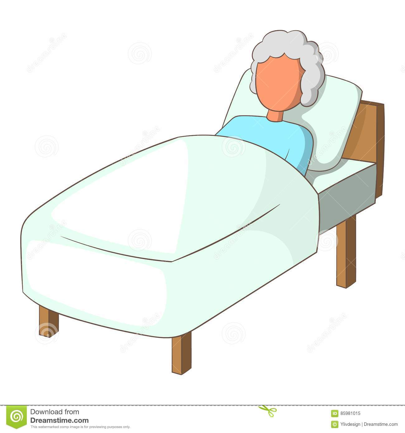 Old Woman In Bed Icon Cartoon Style Stock Vector Image
