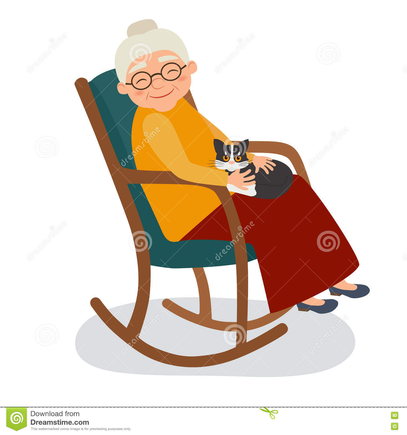 Old woman with cat in her rocking chair stock vector