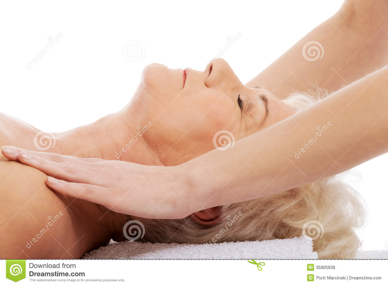 An Old Woman Is Having A Massage. Spa Concept. Stock Photo ...