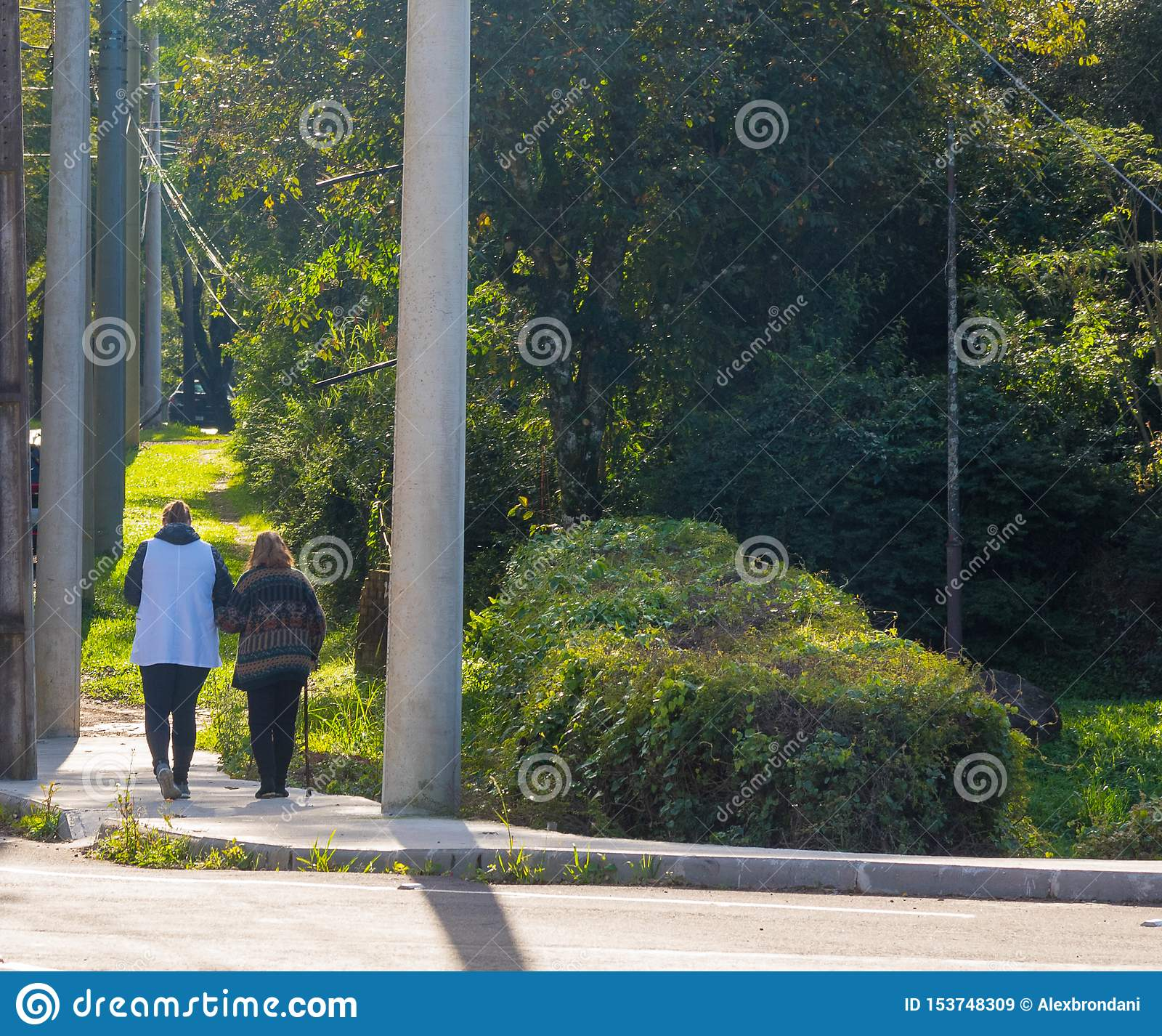 Old woman and her the Morning stroll 02