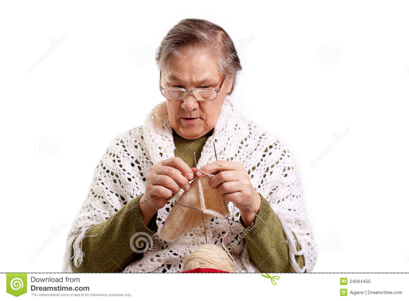 Grandma Knitting Clipart : Old lady sitting in a rocking chair grandmother