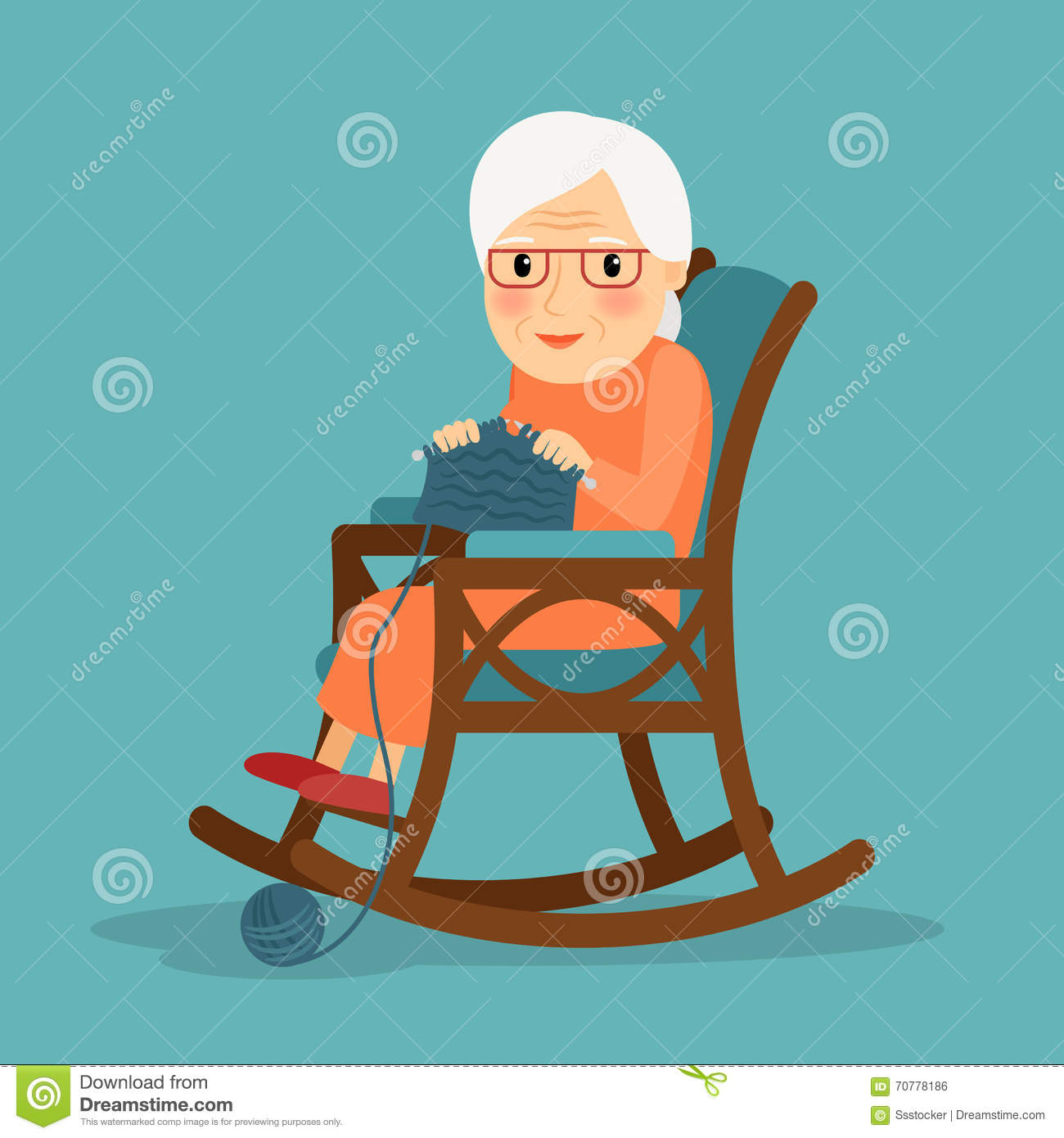 Knitting Granny Clipart : Old woman knitting stock vector image