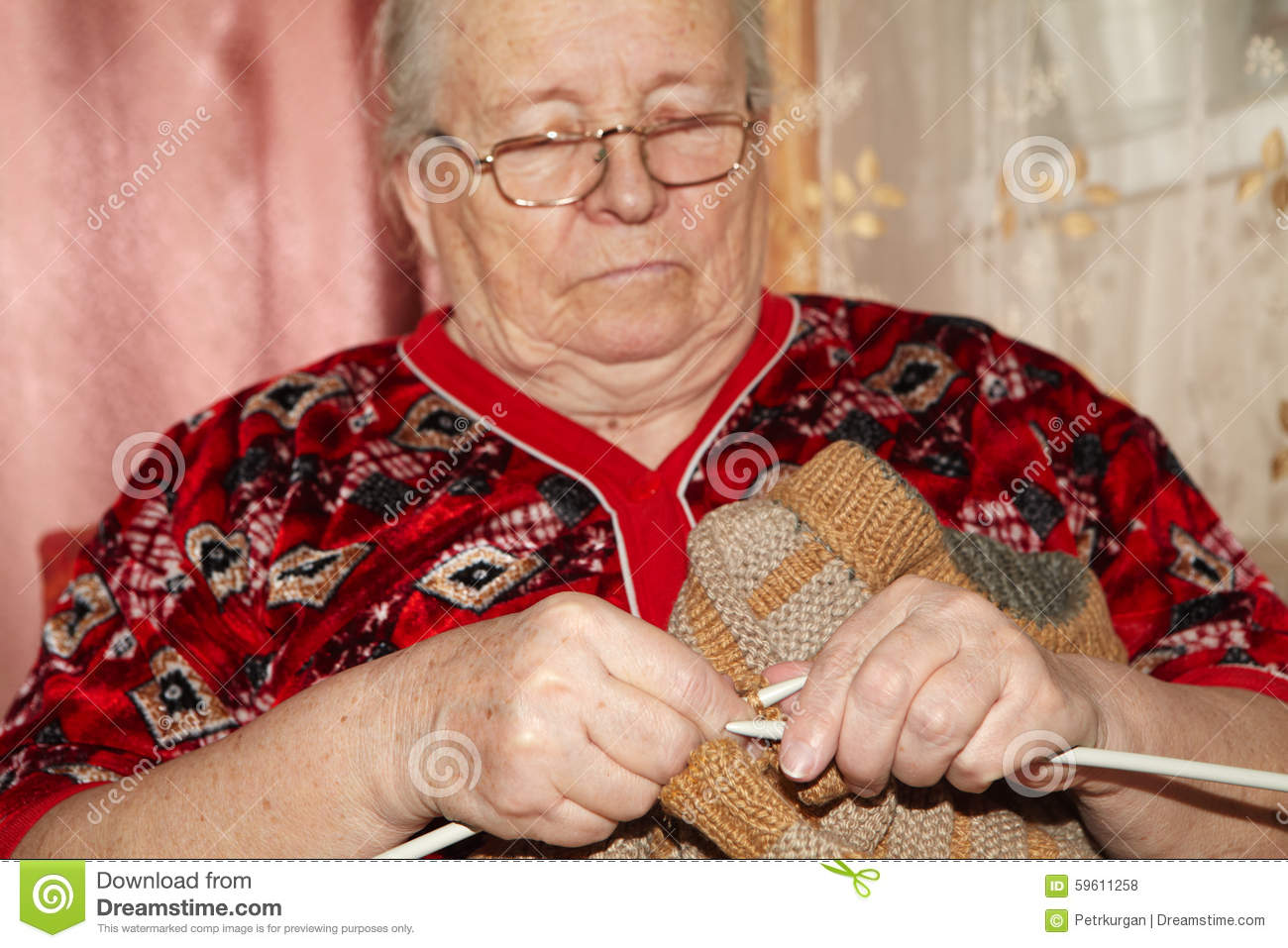 Old Lady Knitting Images : Old woman and knitting sweater stock photo image