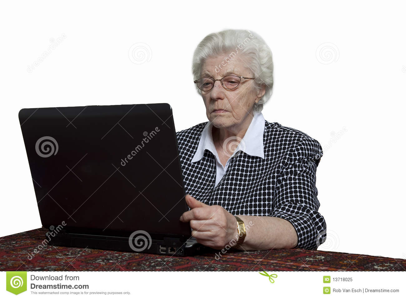 Old Woman Looking At Her Computer Royalty Free Stock Photo